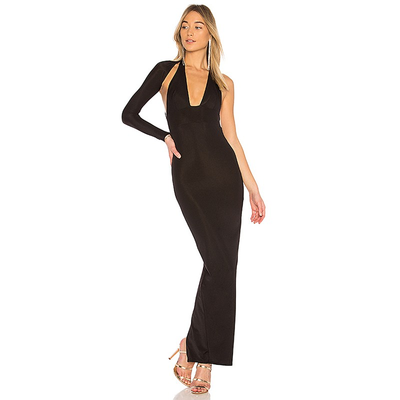 Black One Shoulder Long Sleeve Maxi Cut Out Party Bandage Dress HB5314-Black