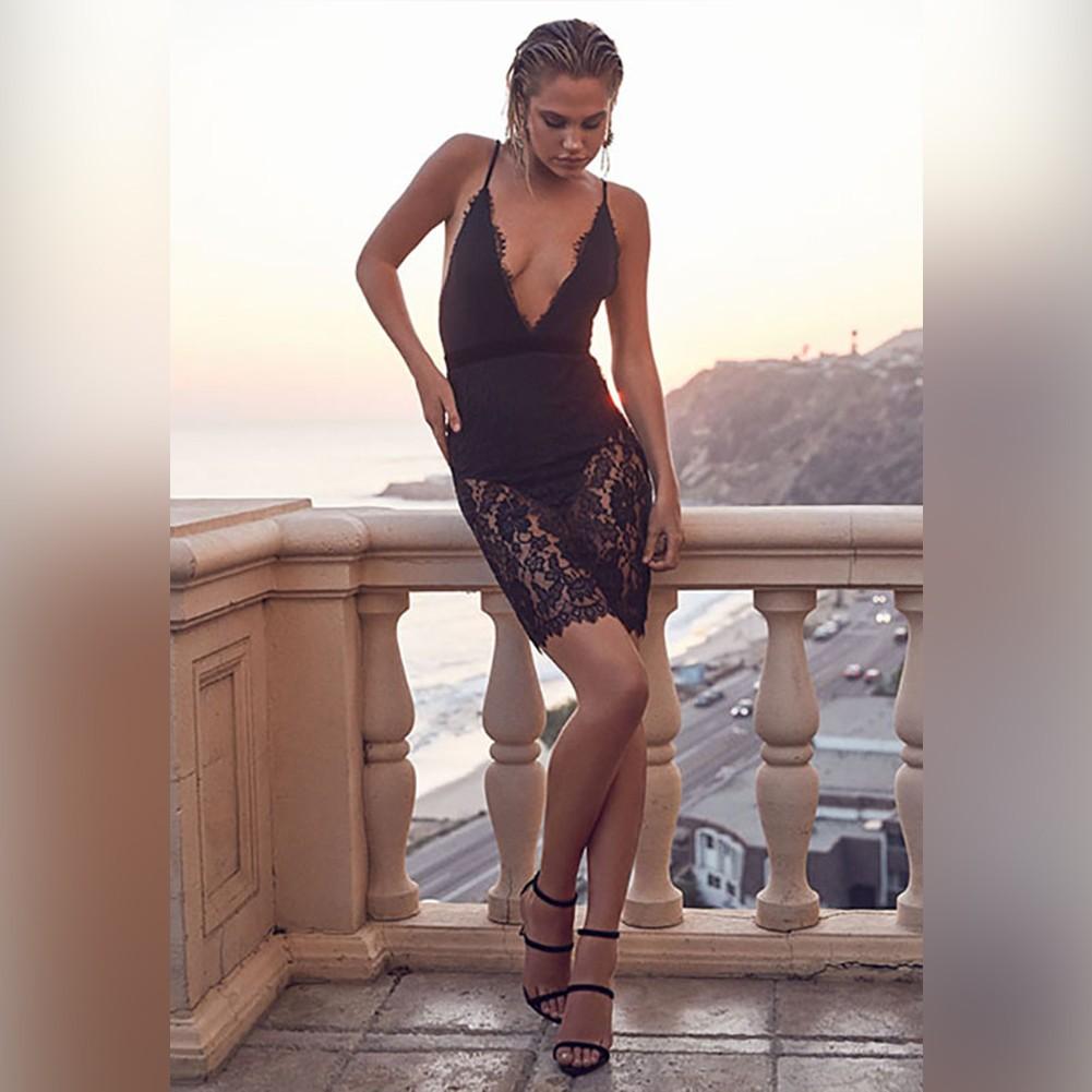 Black V Neck Sleeveless Mini Lace Embellished Transparent Summer Bandage Dress HB5315-Black