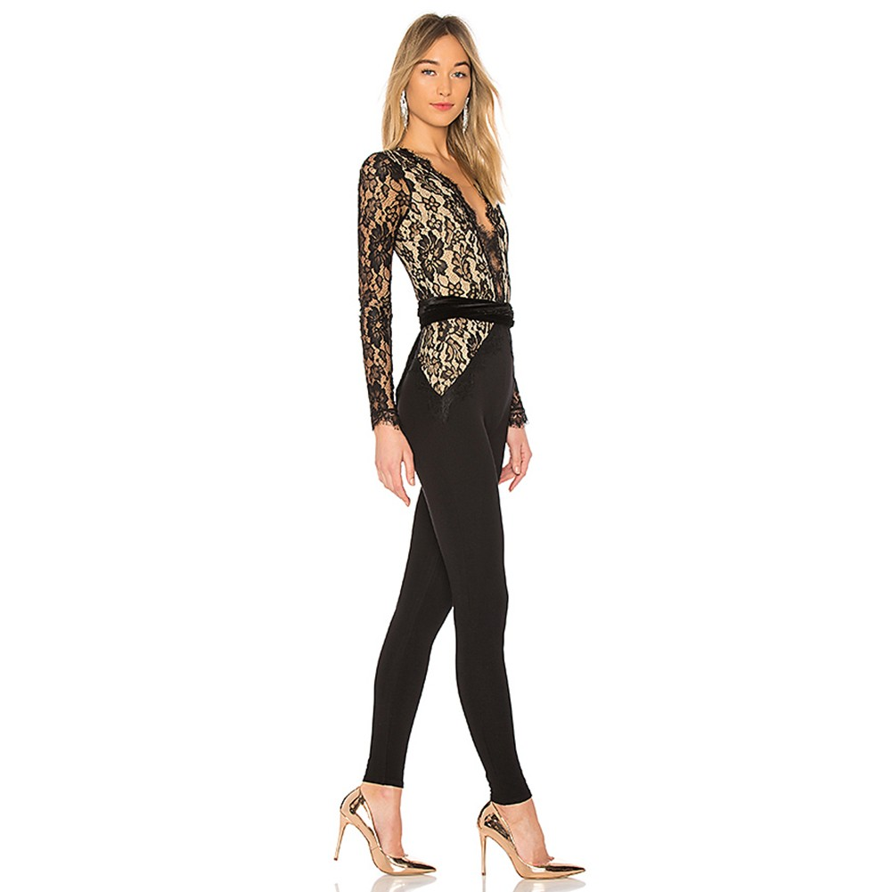 Black V Neck Long Sleeve Over Knee Lace Fashion Bandage Jumpsuits HB5316-Black