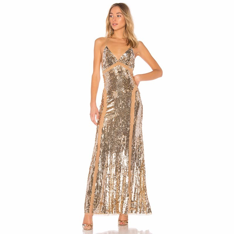 Gold V Neck Sleeveless Maxi Sequined Tasseled Hot Bodycon Dress HB5317-Gold