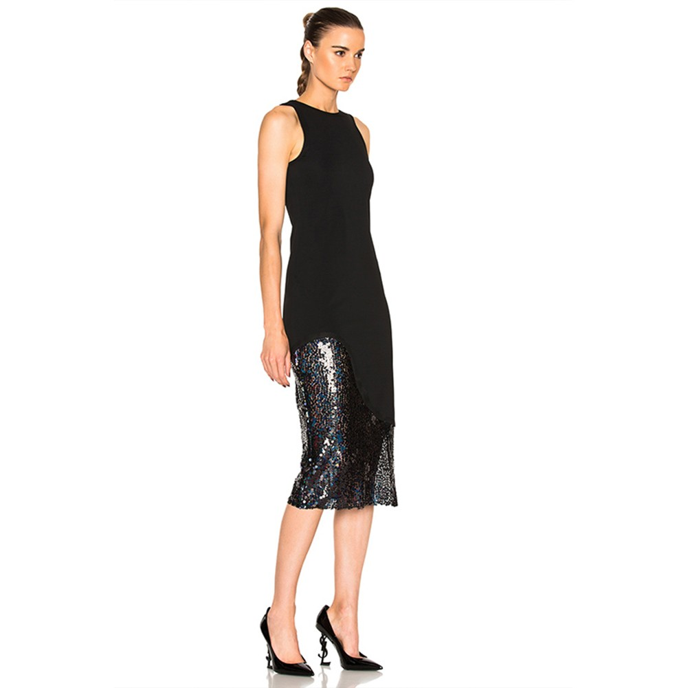 Black Round Neck Sleeveless Over Knee Sequins Side Slit High Quality Bandage Dress HB5320-Black