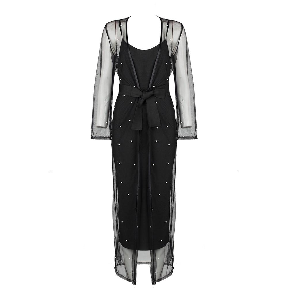 Black Round Neck Long Sleeve Over Knee Lace Beaded Fashion Bandage Dress HB5322-Black