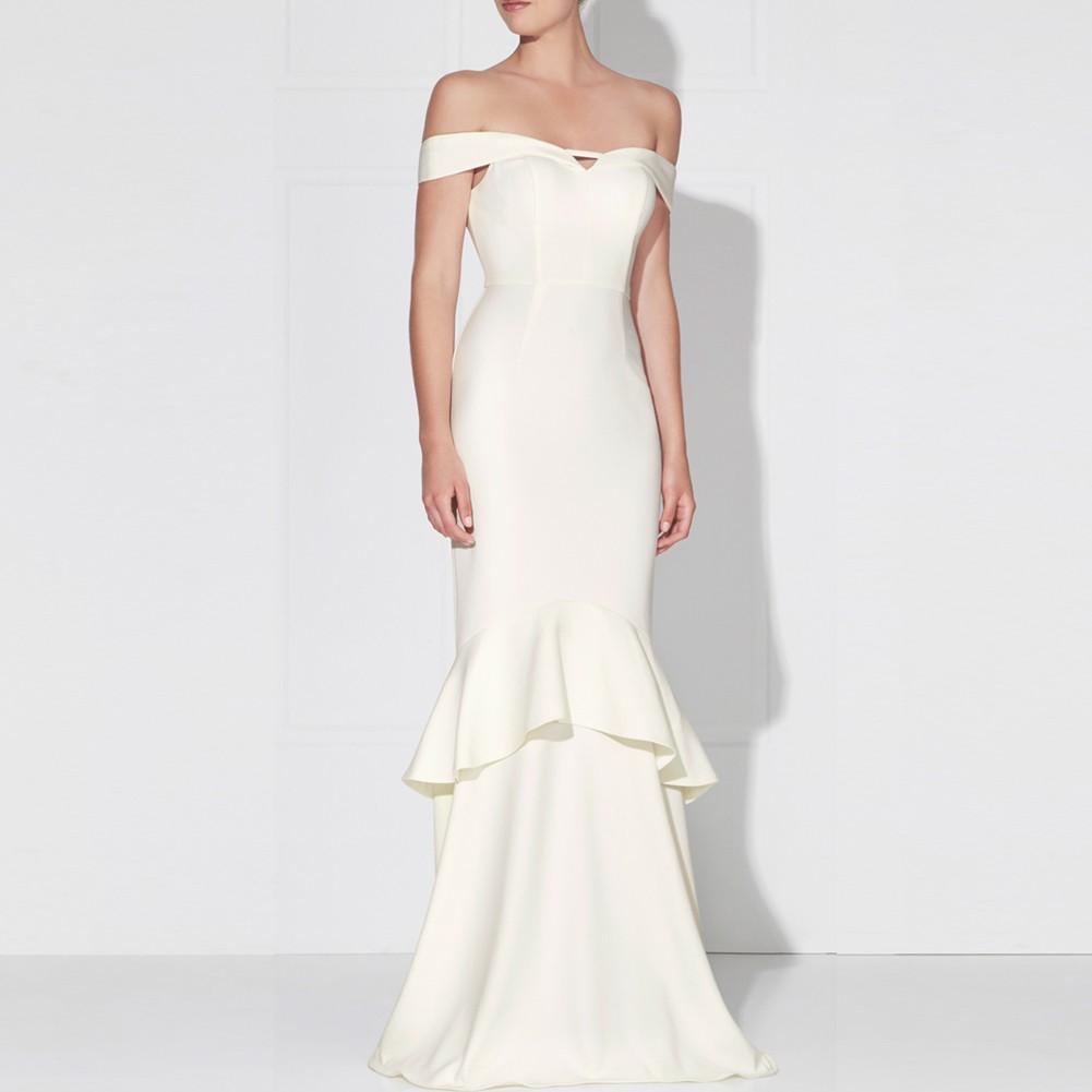 White Off Shoulder Cap Sleeve Maxi Spliced Scollop Sponge Bodycon Dress HB5323-White