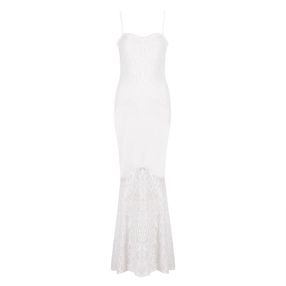 White Strapy Sleeveless Maxi Lace Party Bandage Dress HB5325-White