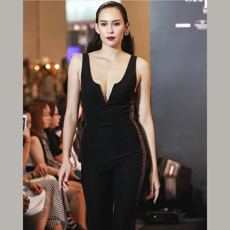 Black V Neck Sleeveless Over Knee Side Mesh Fashion Bandage Jumpsuits HB5332-Black