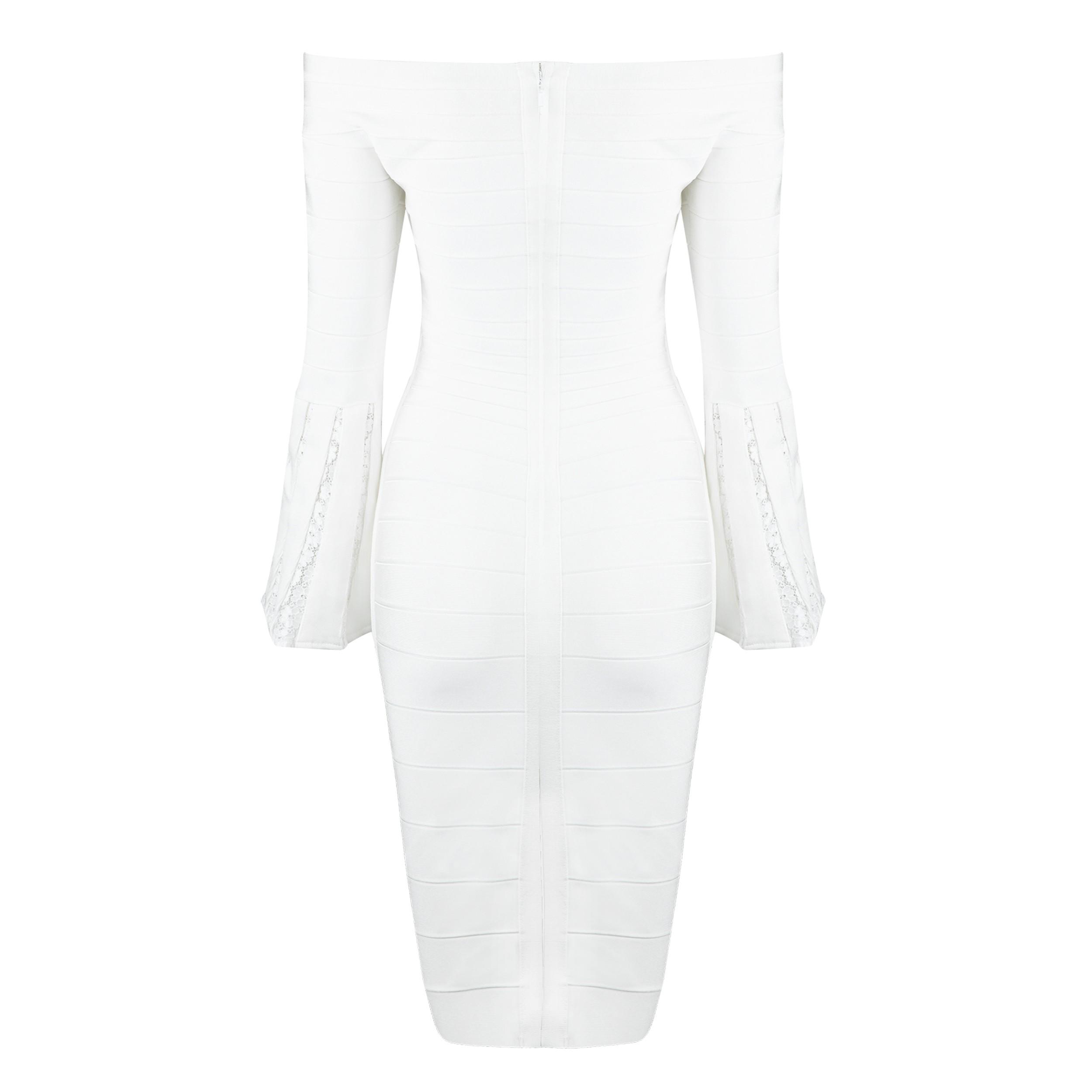 White Off Shoulder Long Sleeve Knee Length Pagoda Sleeve Lace Embellished Leisure Bandage Dress HB5335-White