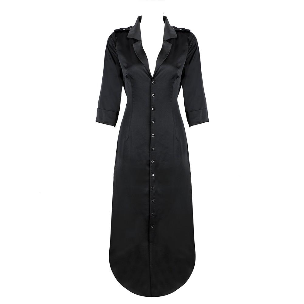 Black V Neck Long Sleeve Over Knee Fashion Ponchos HB5339-Black