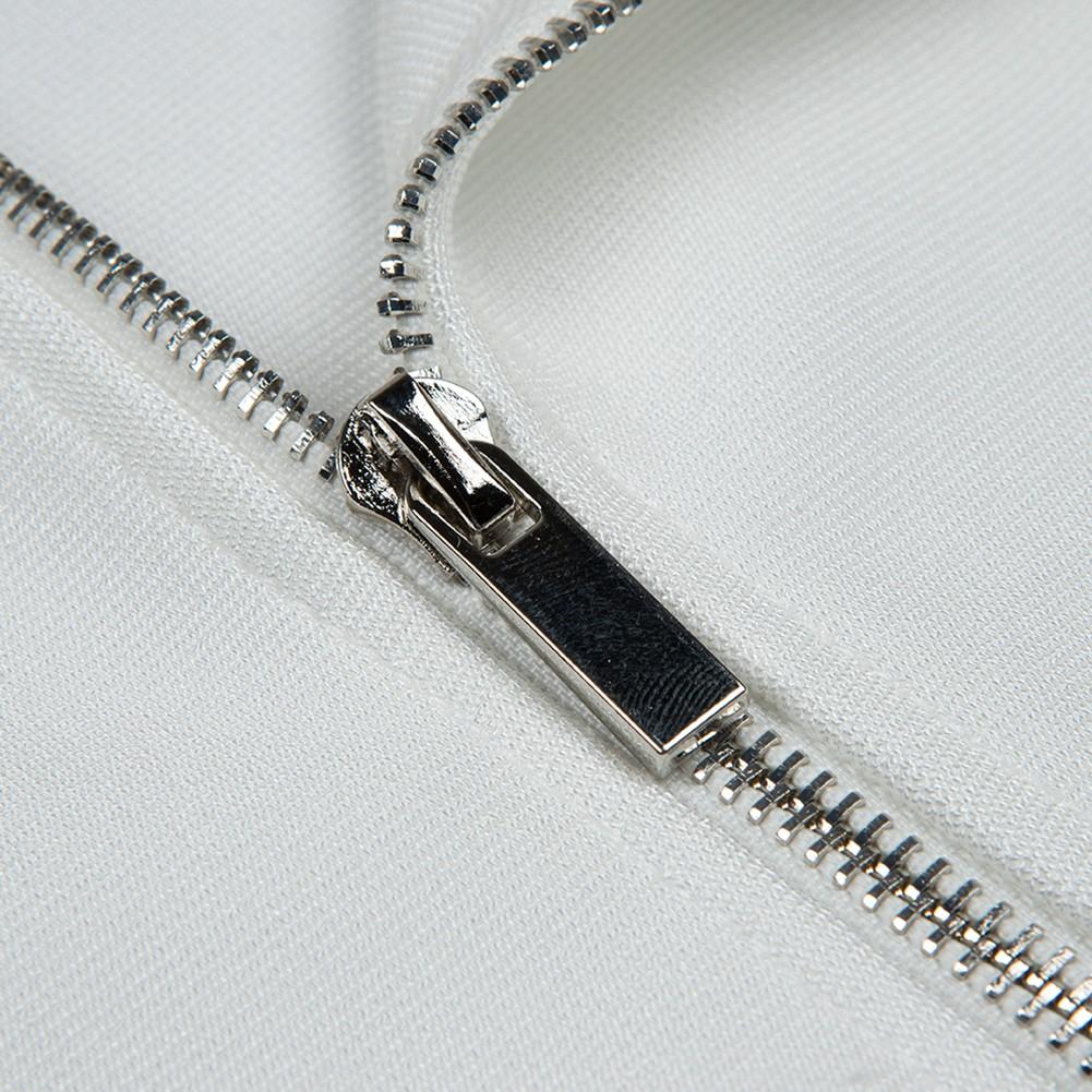 White Strapy Sleeveless Over Knee Feather Side Slit Fashion Bandage Dress HB5340-White