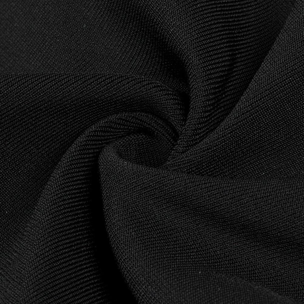 Black Round Neck Sleeveless 2 Piece Stripe High Quality Bandage Suit HB5344-Black
