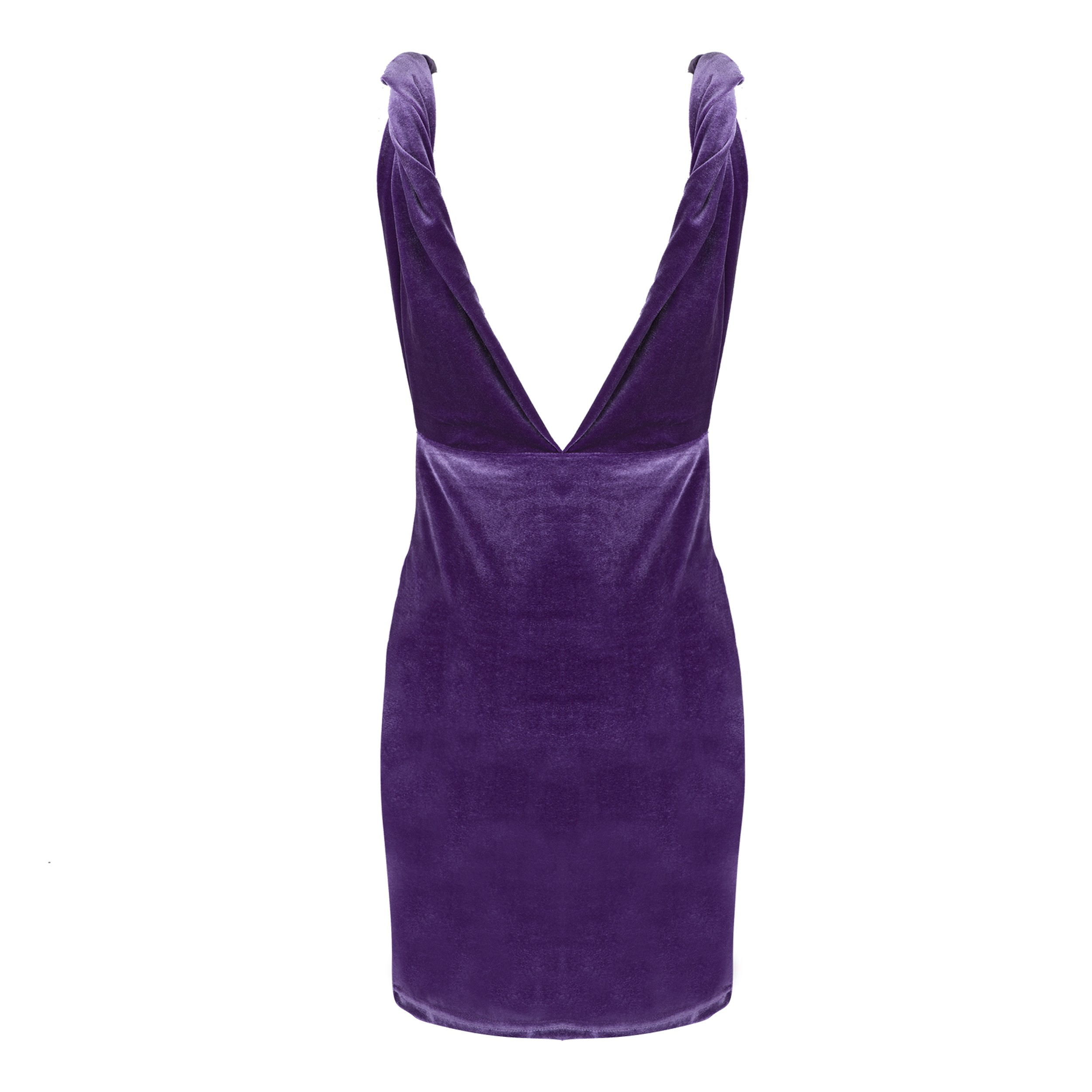 Purple V Neck Sleeveless Mini Wrinkled Twisted Strips Best Bodycon Dress HB5350-Purple