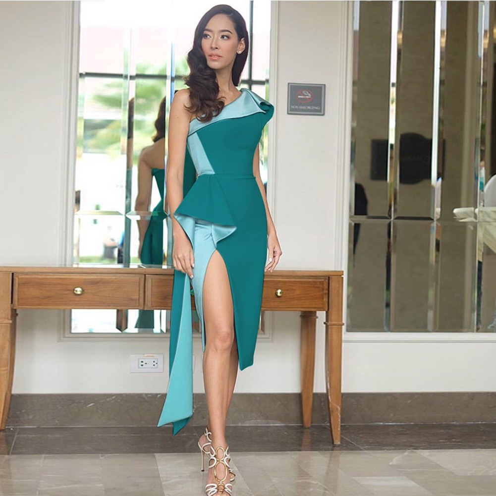Green One Shoulder Sleeveless Over Knee Plain Side Slit Fashion Bodycon Dress HB5357-Green