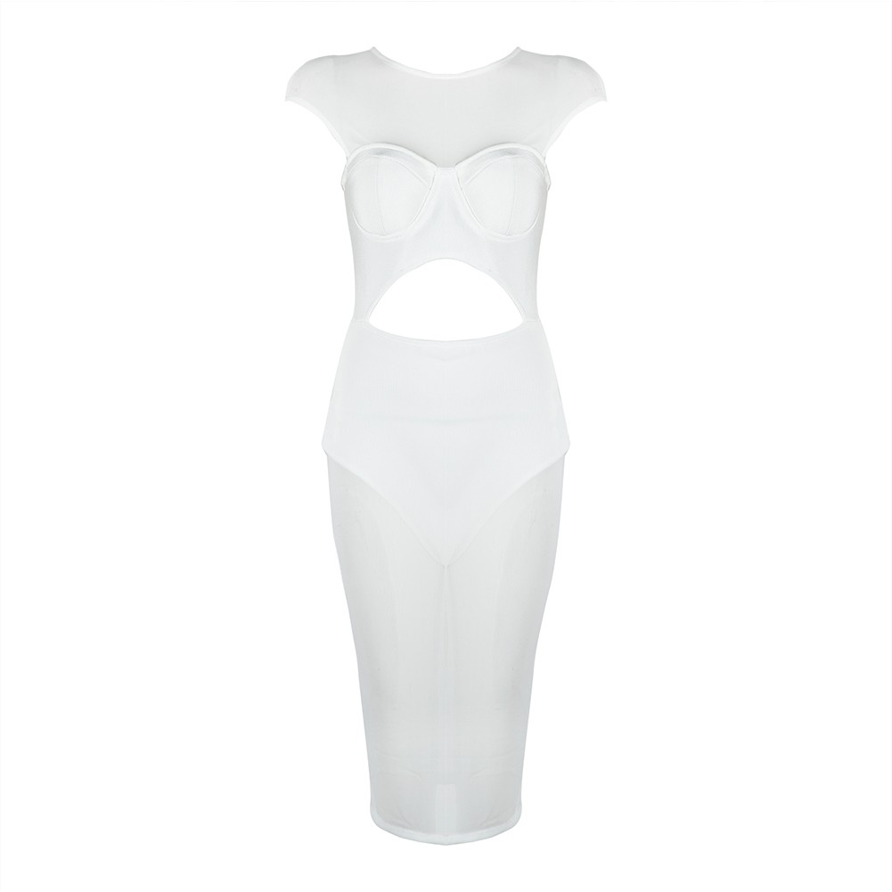 White Round Neck Cap Sleeve Knee Length Mesh Transparent Sexy Bandage Dress HB5358-White