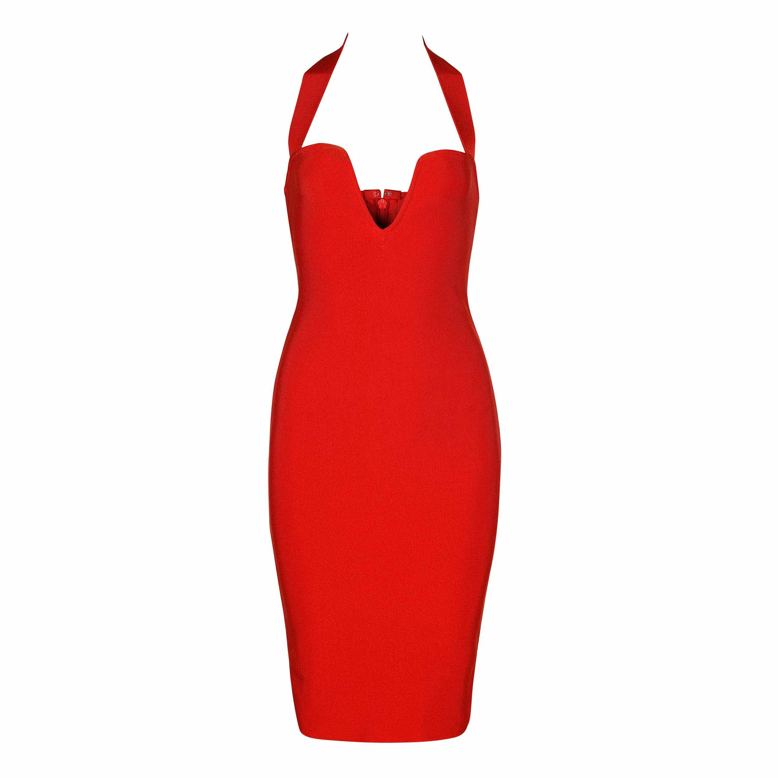 Red Strapy Sleeveless Mini Breast Fashion Bandage Dress HB5360-Red