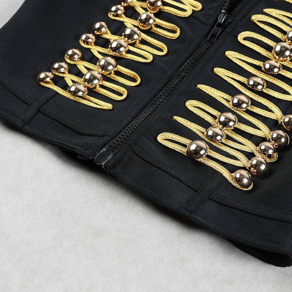 Black High Neck Longsleeve Mini Beaded Fashion Crop Top HB5365-Black