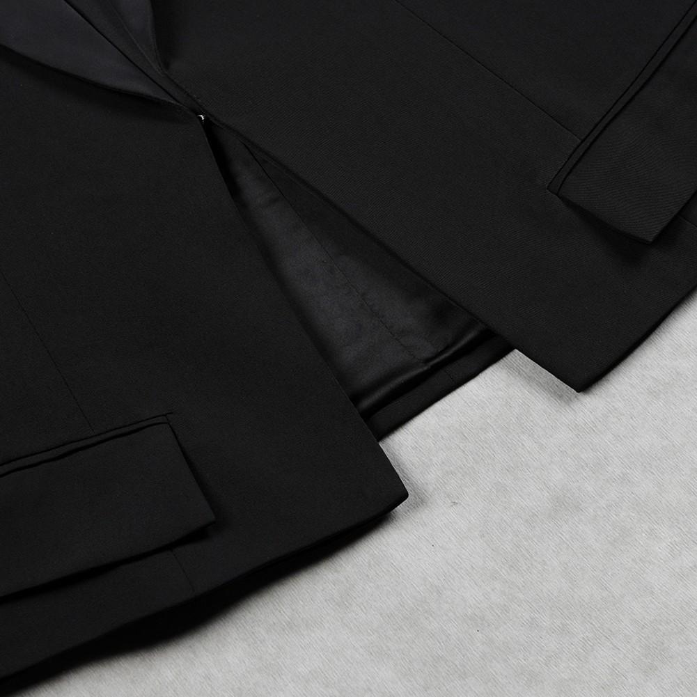 Black V Neck Long Sleeve 2 Piece Plain With Silk Belt New Bodycon Set HB5366-Black