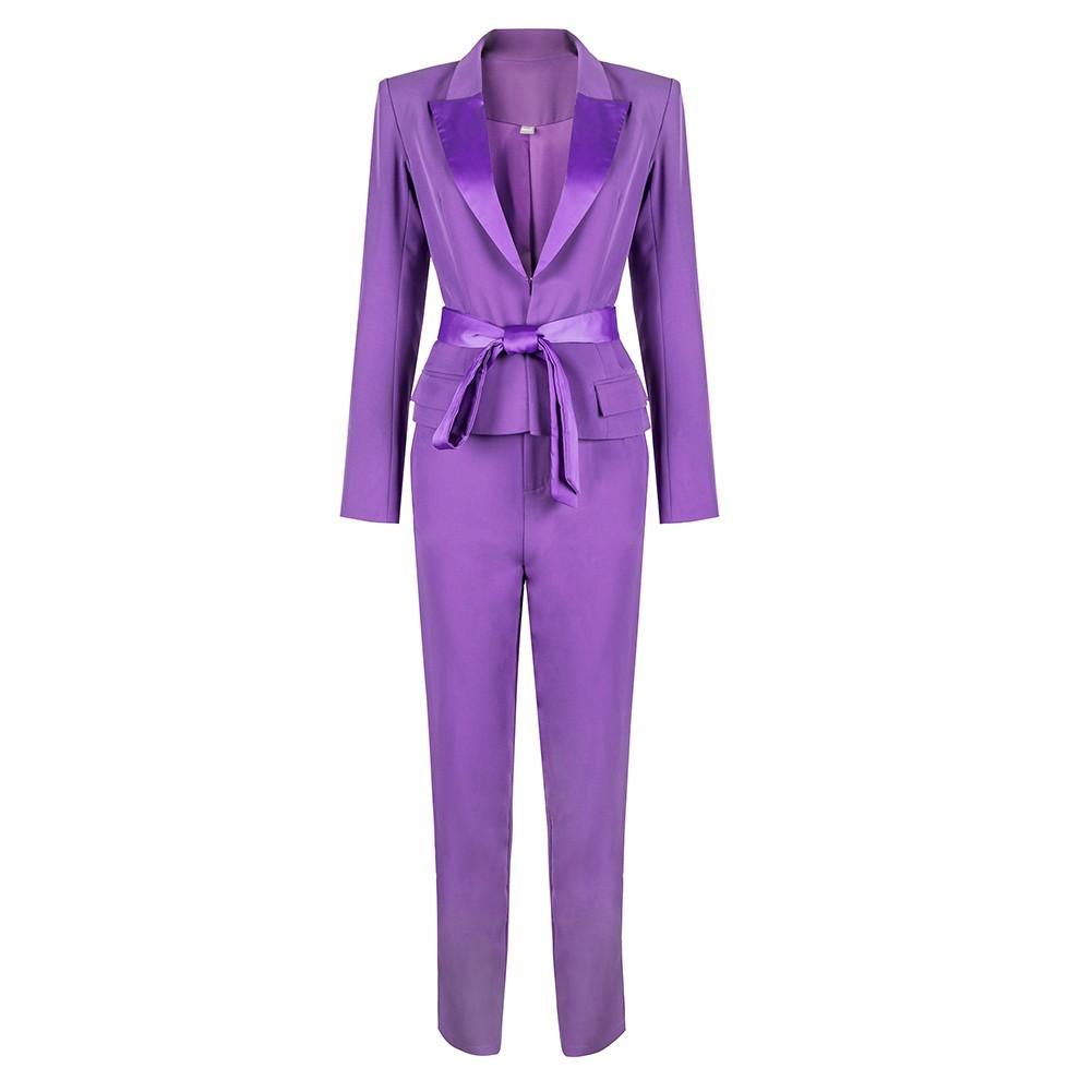 Purple V Neck Long Sleeve 2 Piece Plain With Silk Belt New Bodycon Set HB5366-Purple
