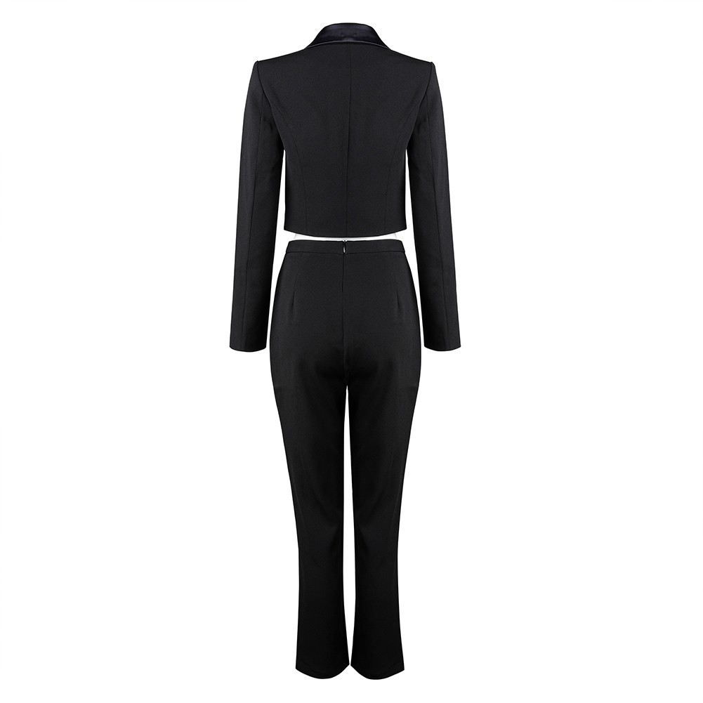 Black V Neck Long Sleeve Over Knee Leather High Quality Suit HB5369-Black