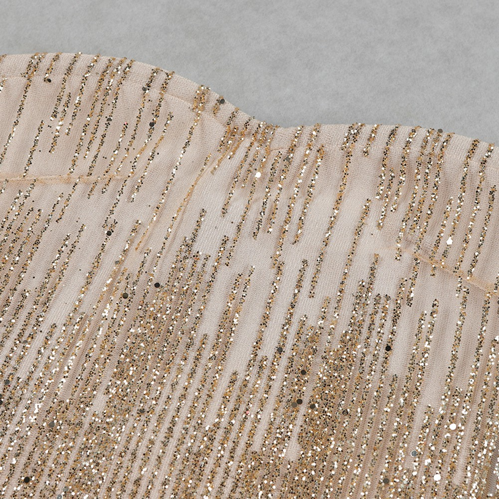 Gold Strapless Sleeveless Mini Meshed With Gold Powder Club Bandage Dress HB5387-Gold
