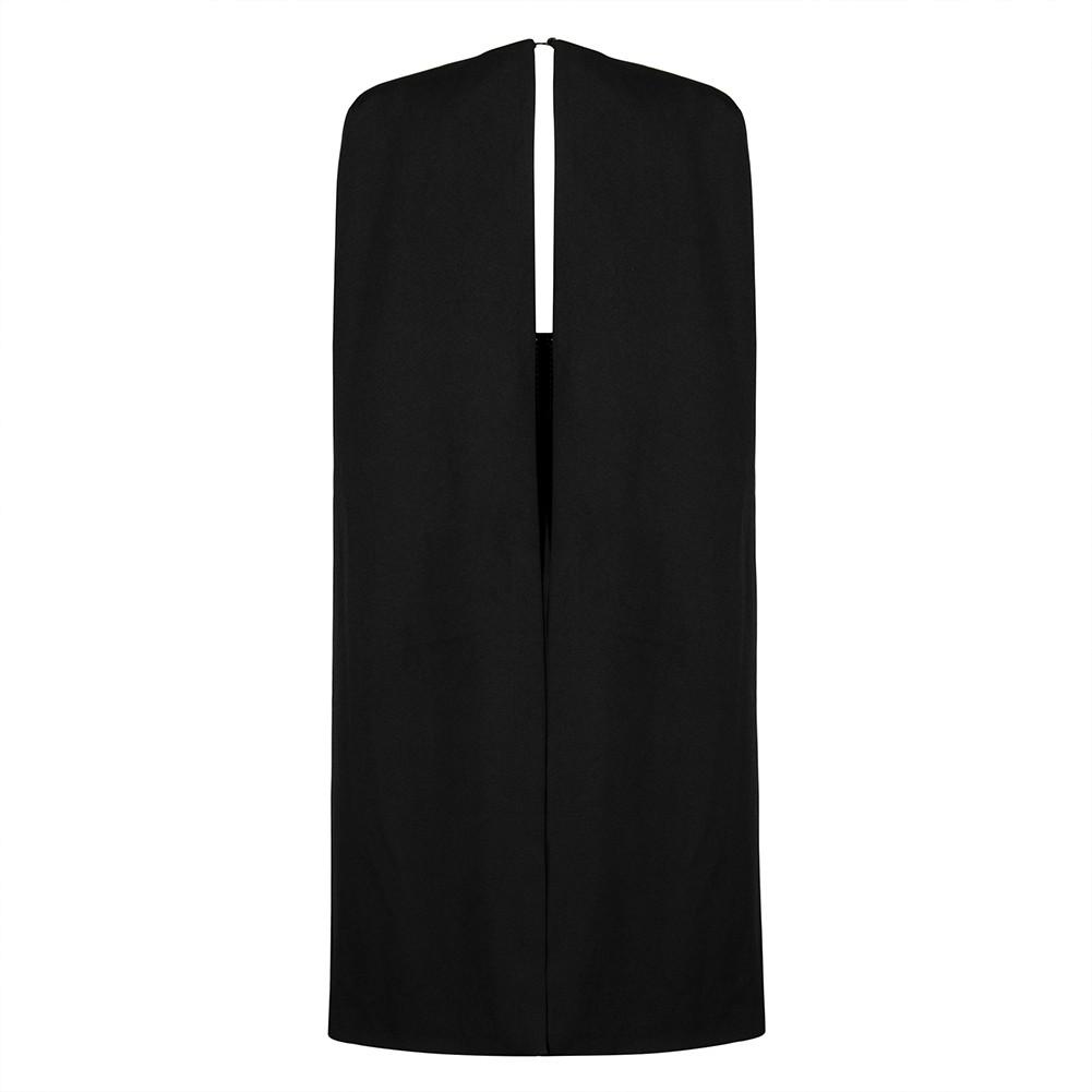 Black V Neck Long Sleeve Over Knee Beaded Top With Capes Unique Bandage Dress HB5389-Black