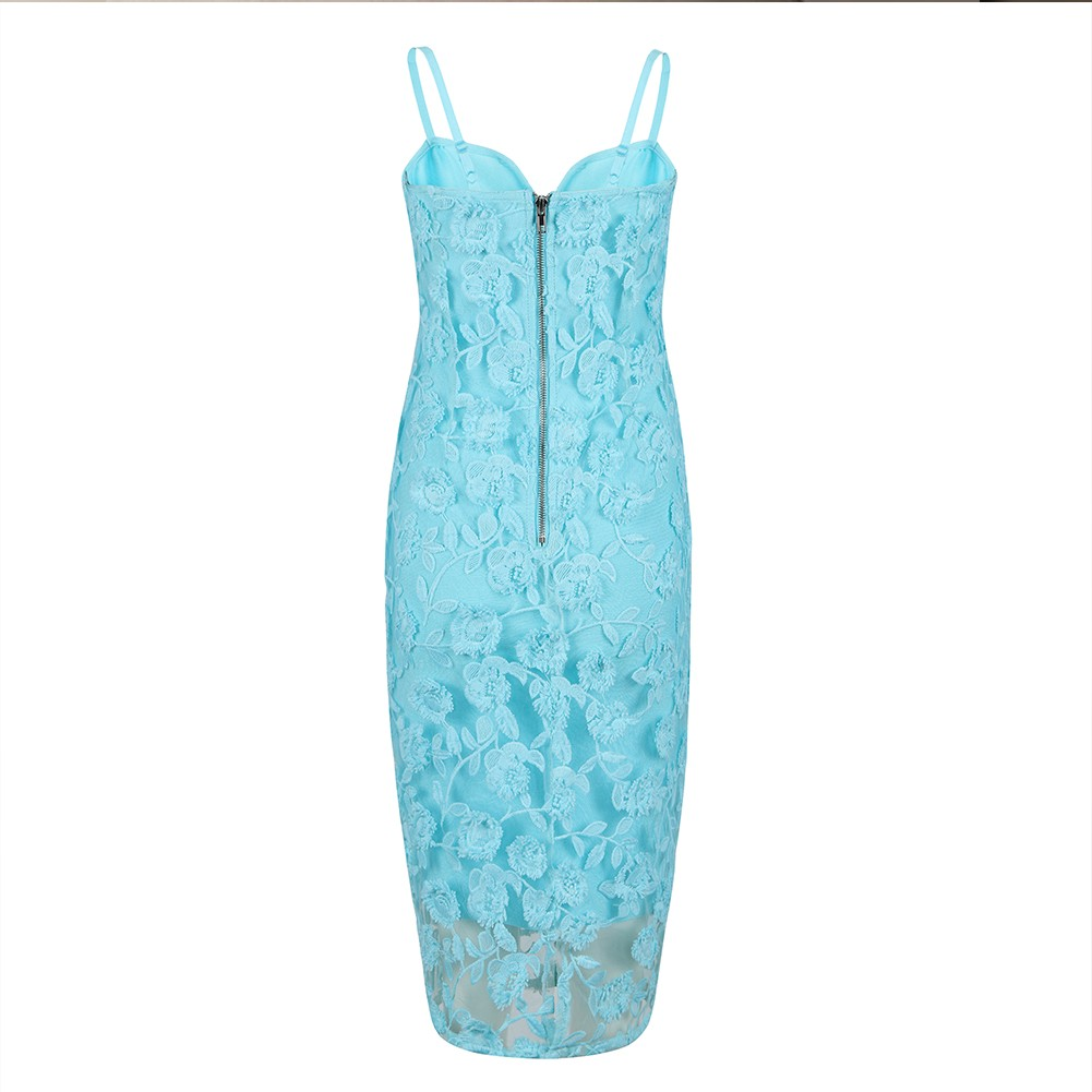 Blue Strappy Sleeveless Over Knee Meshed Embriodery Fashion Bandage Dress HB5391-Blue