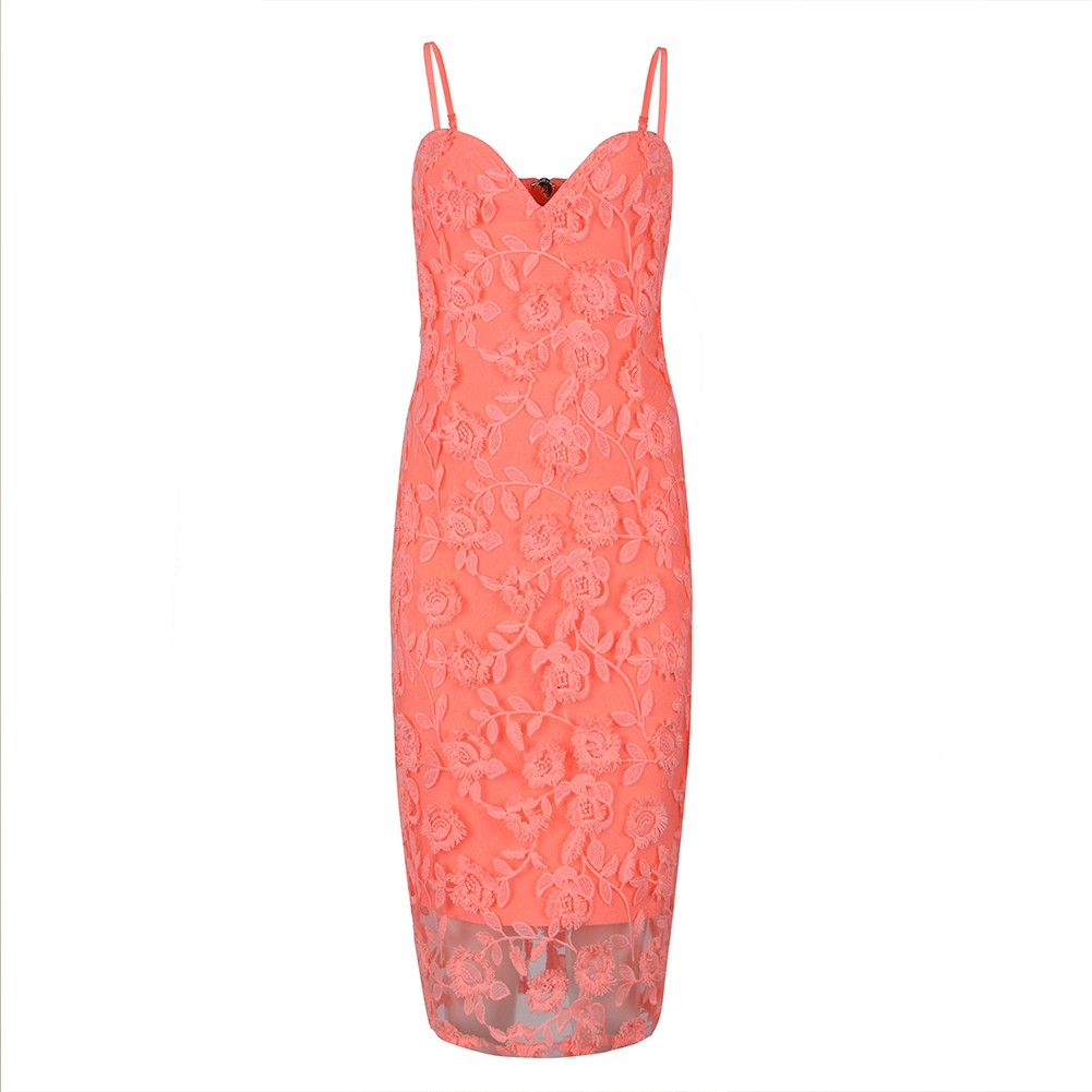 Pink Strapy Sleeveless Over Knee Meshed Embriodery Fashion Bandage Dress HB5391-Pink