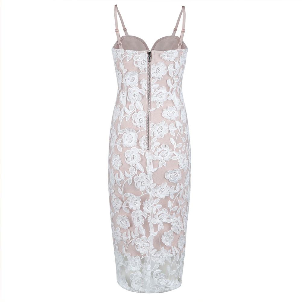 White Strapy Sleeveless Over Knee Meshed Embriodery Fashion Bandage Dress HB5391-White