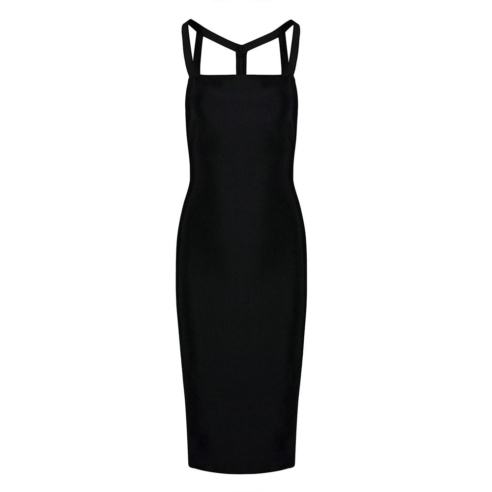 Black Strapy Sleeveless Over Knee Side Slitted Backless Special Bandage Dress HB5398-Black