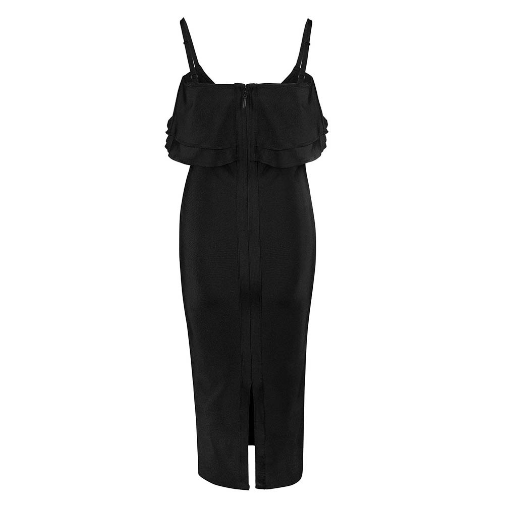 Black Strapy Off Shoulder Over Knee Scolloped Sleeves Back Slitted Fashion Bandage Dress HB5404-Black