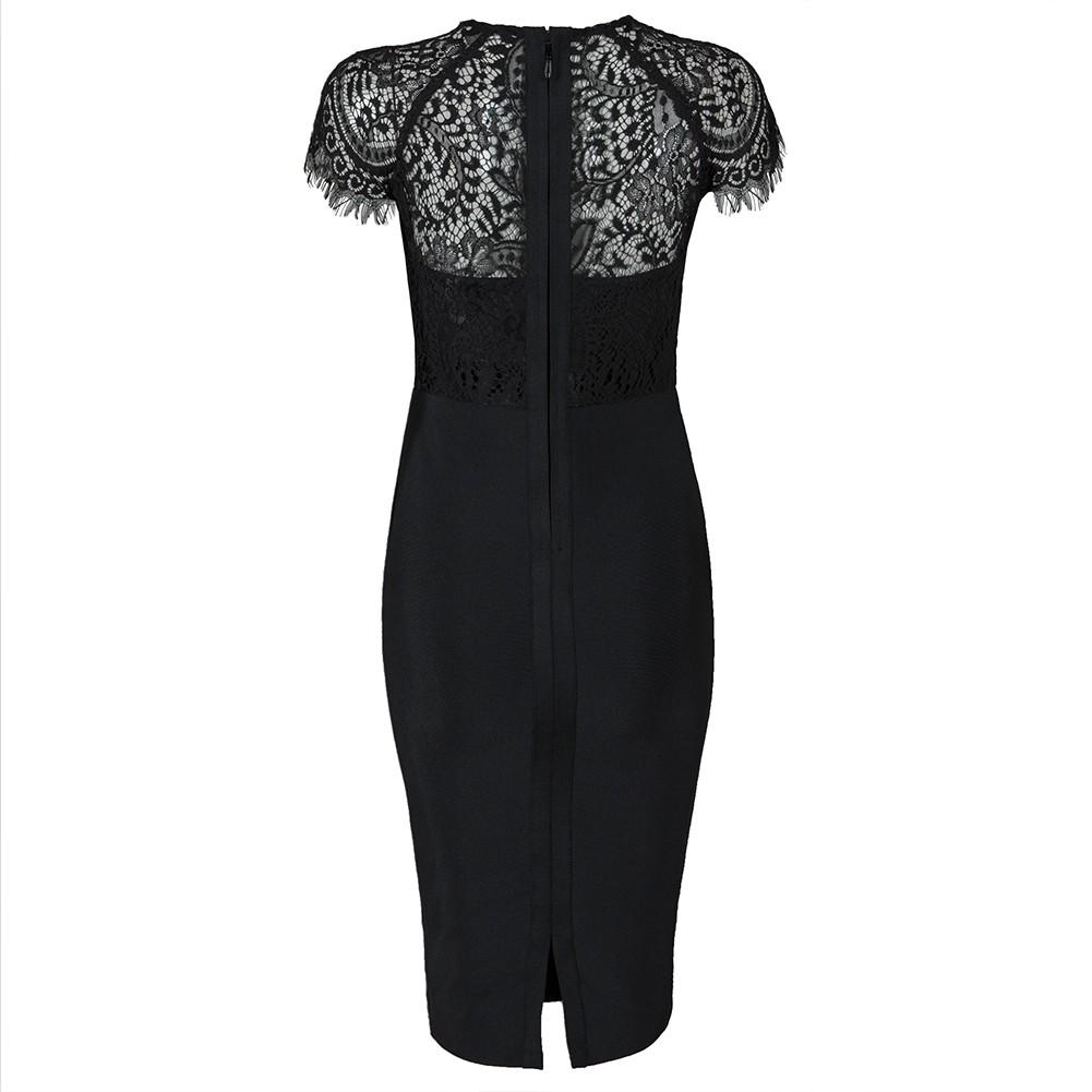 Black Round Neck Short Sleeve Over Knee Lace Back Slitted Wholesale Bandage Dress HB5408-Black
