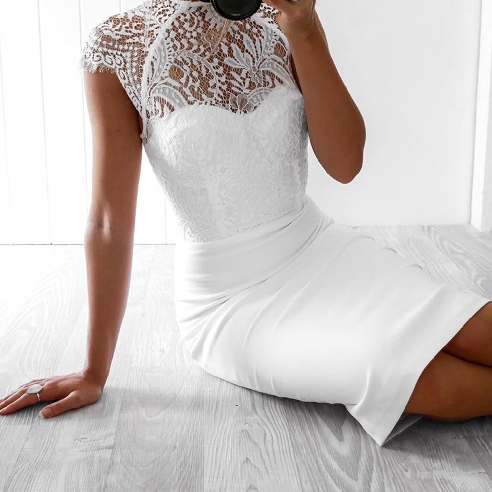 White Round Neck Short Sleeve Over Knee Lace Back Slitted Wholesale Bandage Dress HB5408-White