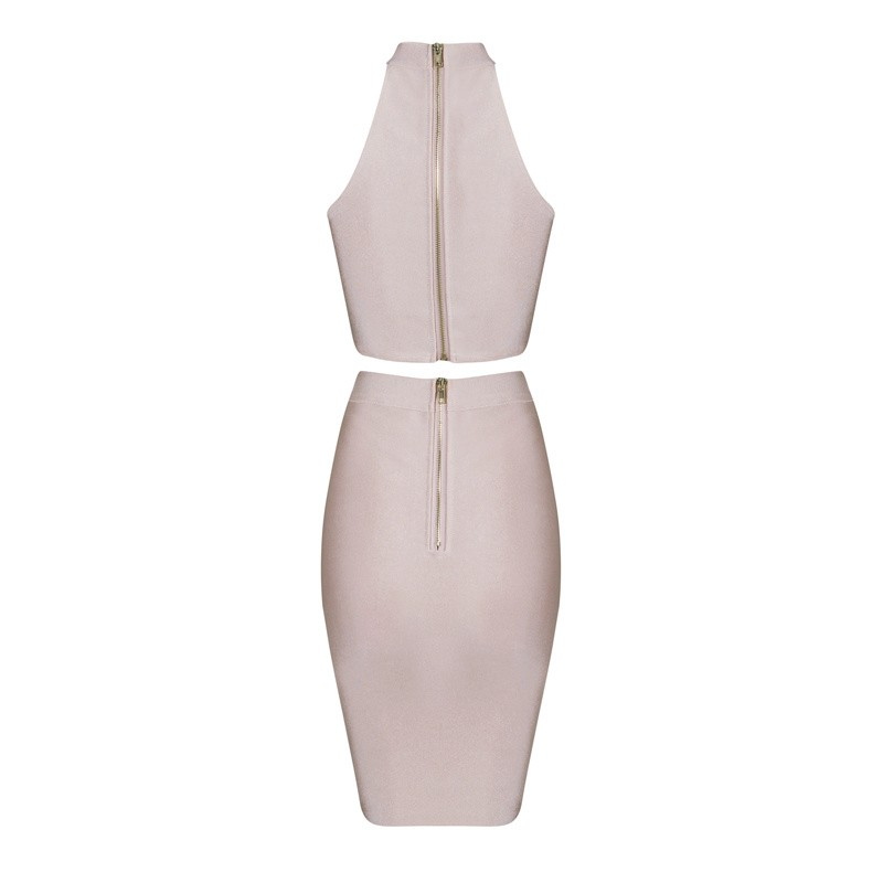 Halter Sleeveless 2 Piece High Neck Celebrity Nude Bodycon Bandage Dress HB632-Nude