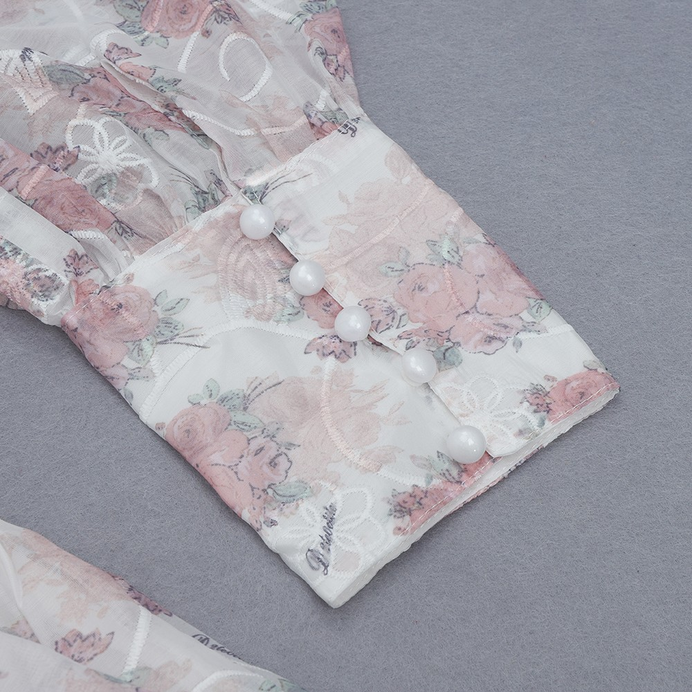 White Floral Frill Mini Mid Sleeve Square Collar Bodycon Dress HB6745-White