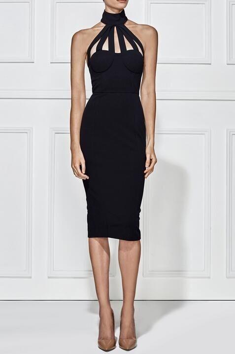 Halter Sleeveless Knee length Cut Out Backless Black Evening Bandage Dress HB679-BLACK
