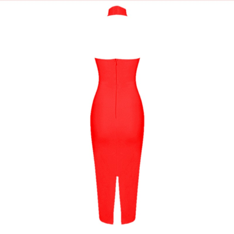 Halter Sleeveless Knee length Cut Out Backless Red Evening Bandage Dress HB679-Red