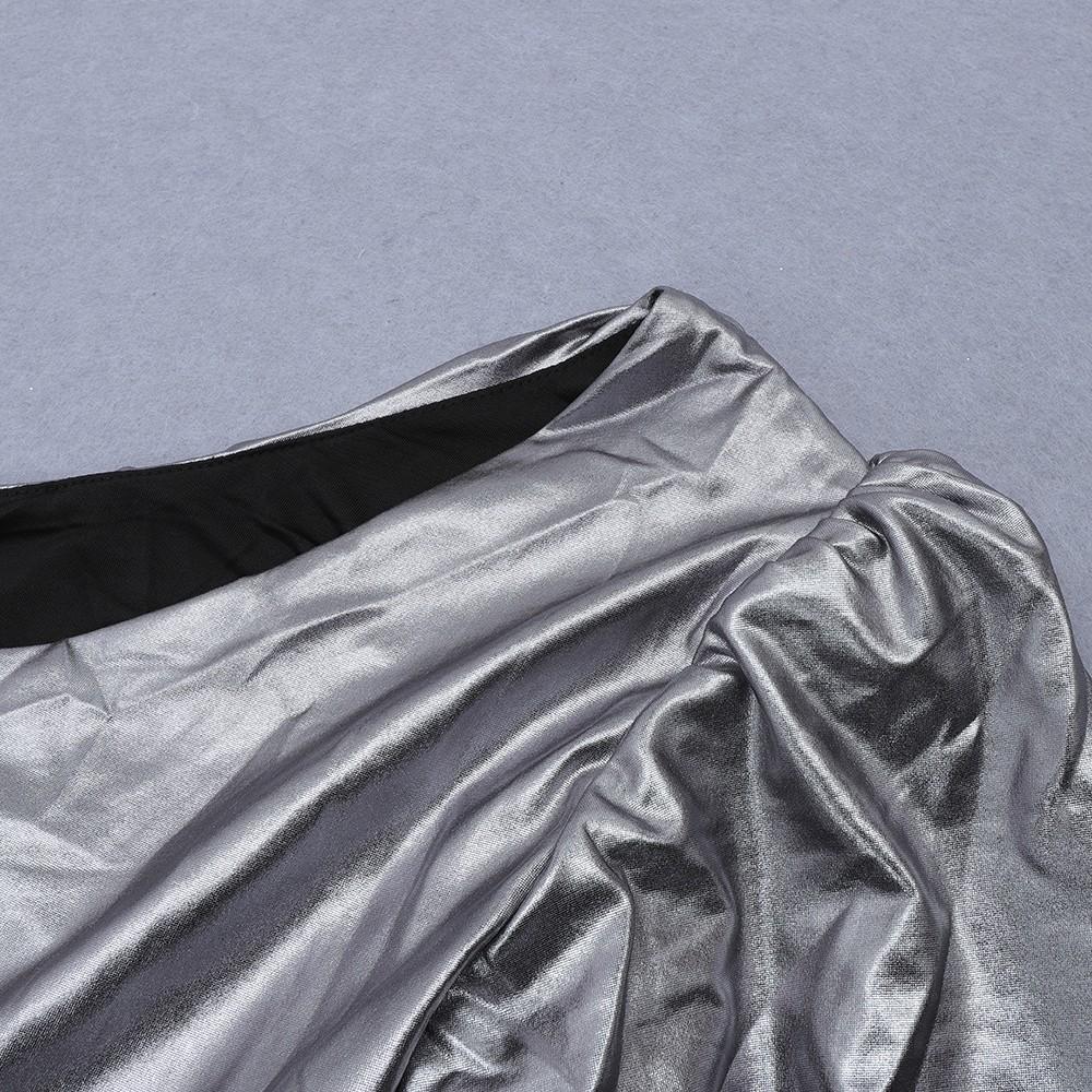 Silver Asymmetrical Wrinkled Mini Long Sleeve One Shoulder Bodycon Dress HB6875-Silver