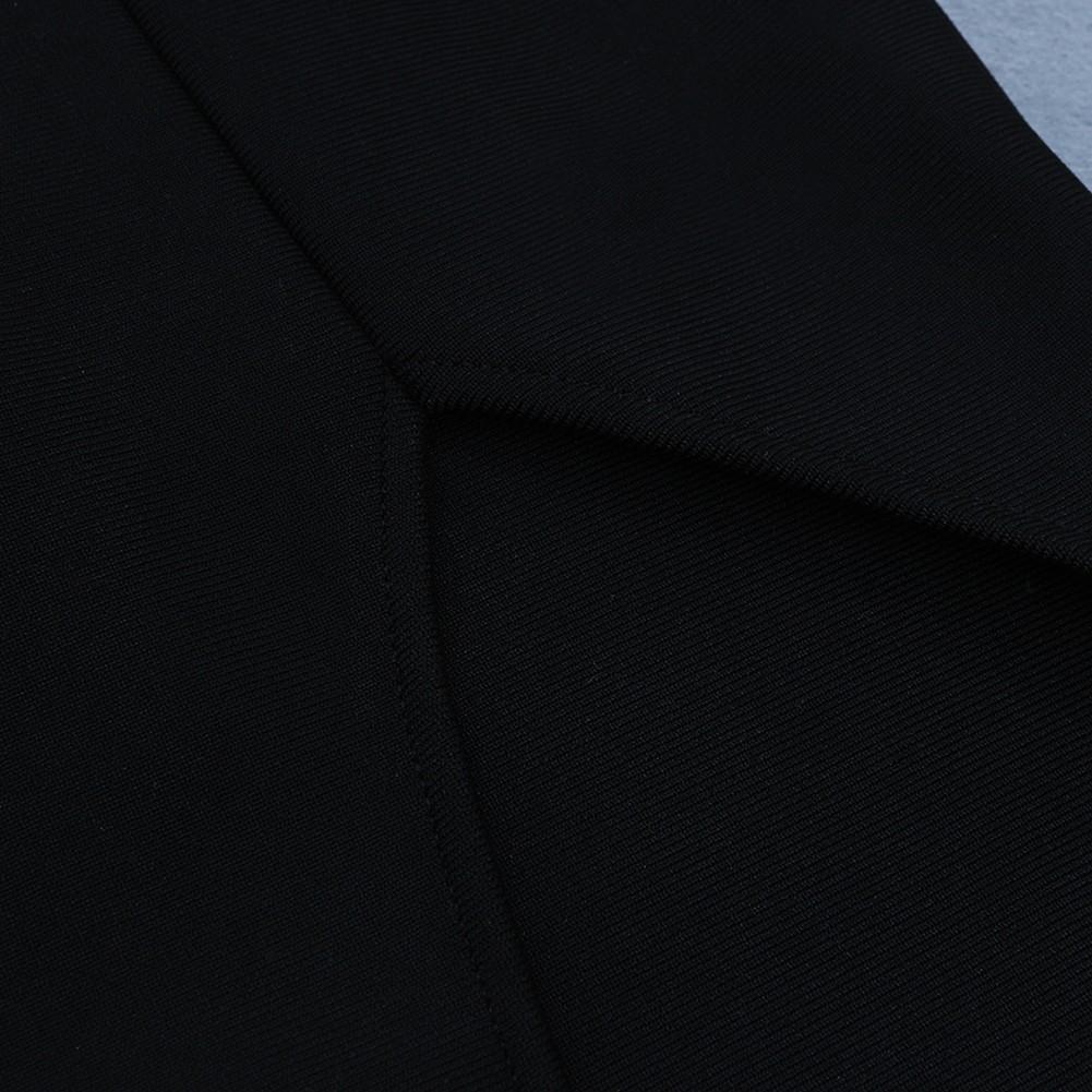 Black Mesh Side Slit Over Knee Sleeveless Strapy Bandage Dress HB7080-Black