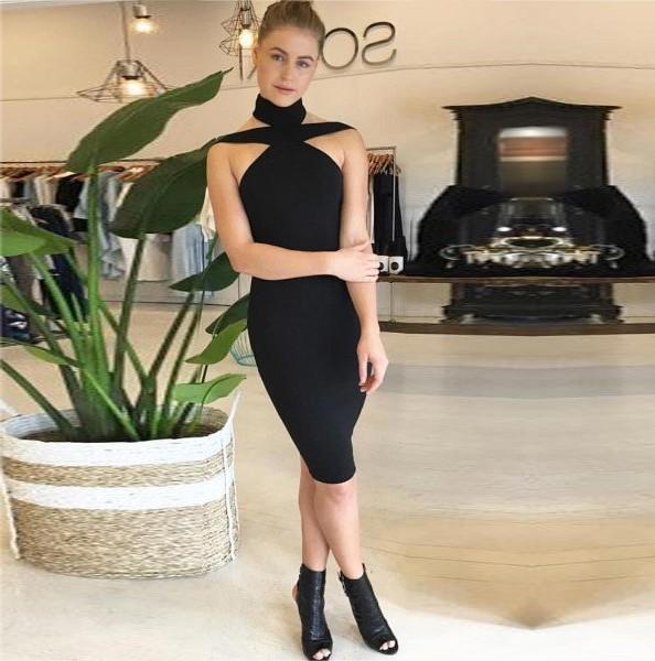 Halter Sleeveless Mini Cut Out Backless Black Wonderful Bandage Dress