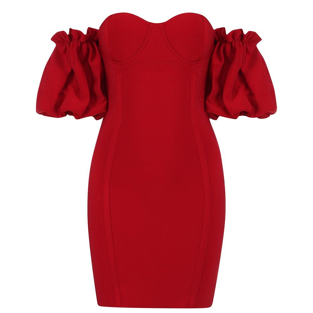 Red Distinctive Frill Mini Short Sleeve Off Shoulder Bandage Dress HB7268-Red