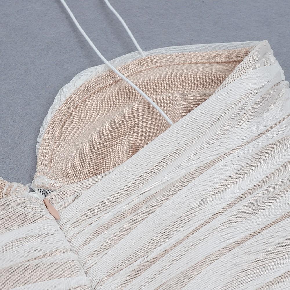 White Striped Wrinkled Mini Sleeveless Strappy Bandage Dress HB7272-White