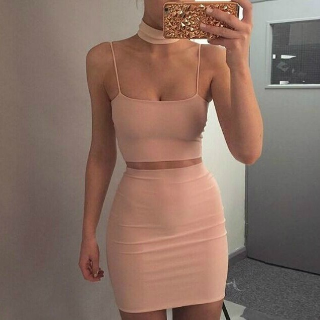Strapy Sleeveless 2 Piece Nude Party Bandage Dress Hb733-Nude