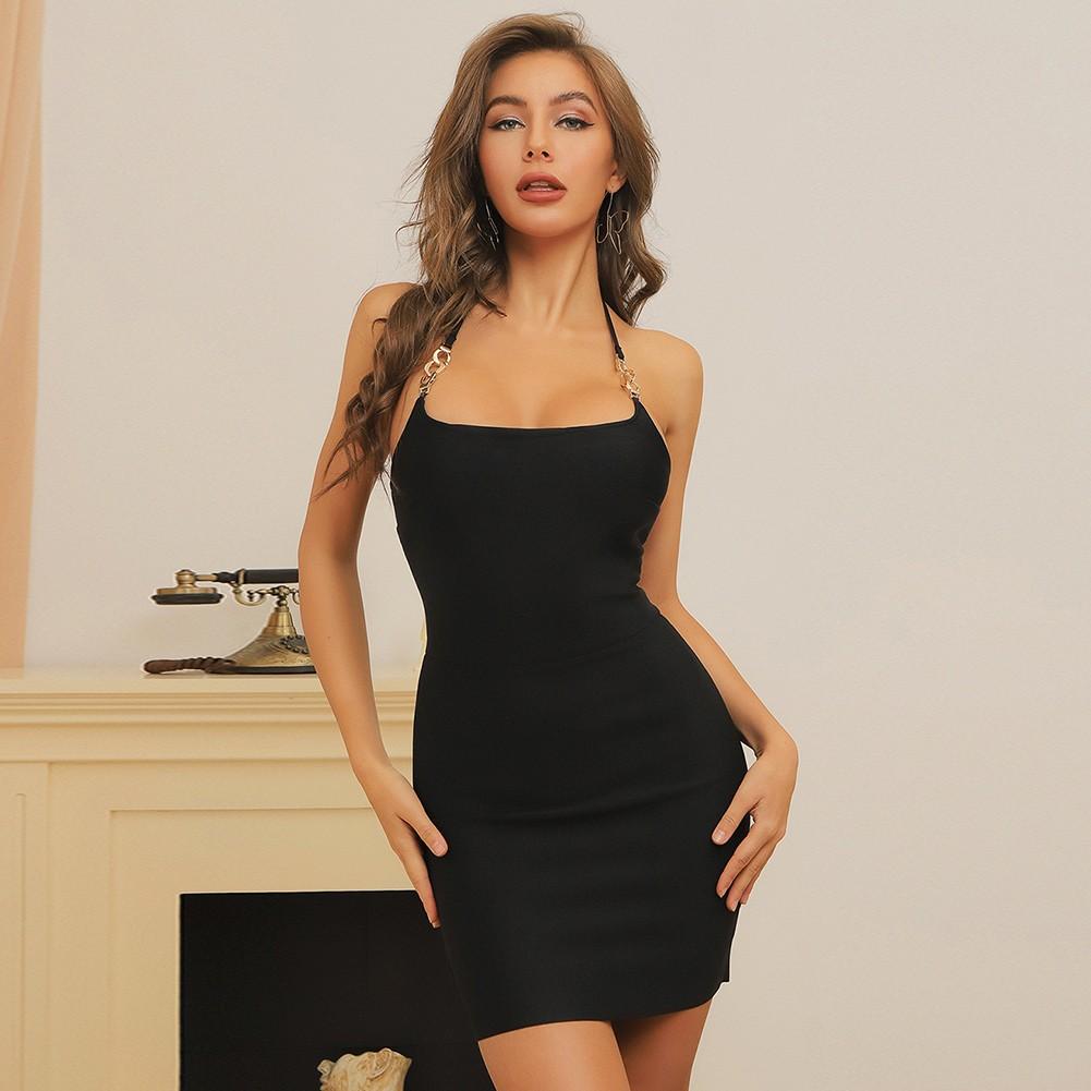 Black Backless Plain Mini Sleeveless Halter Bandage Dress HB7391-Black