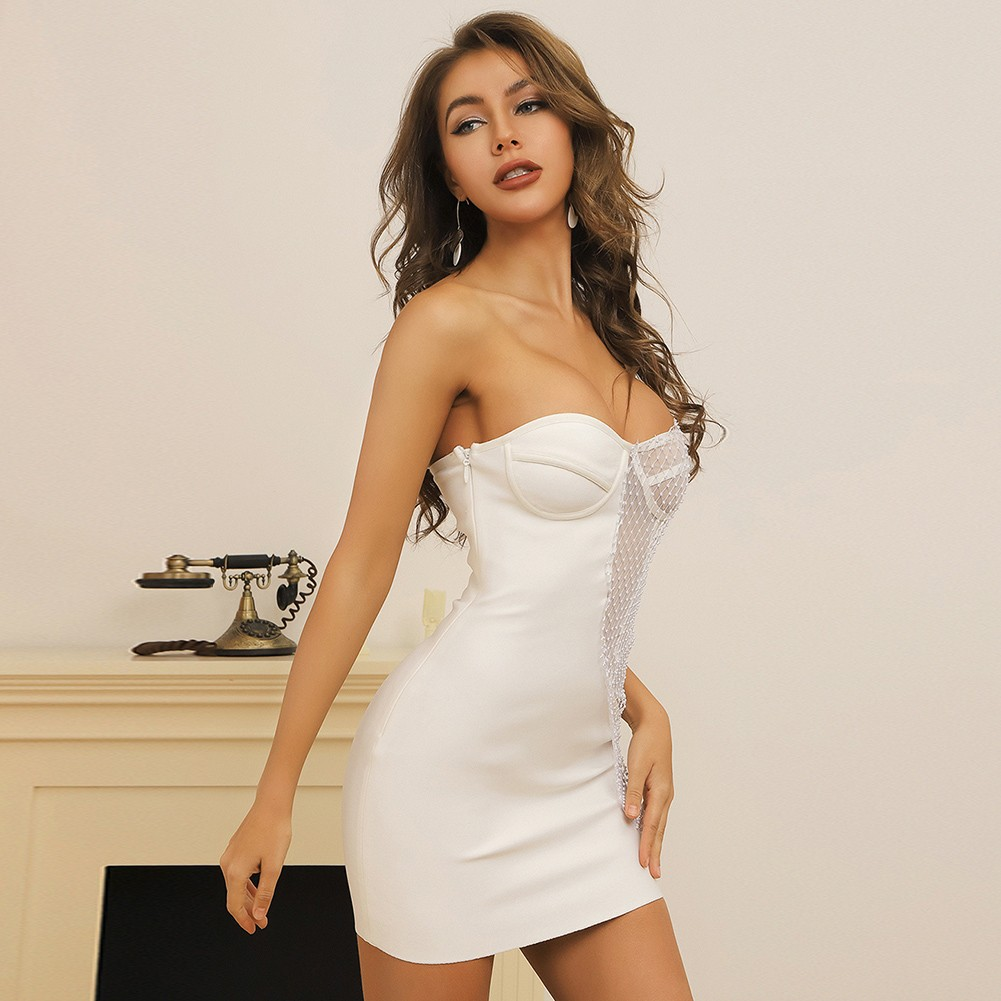 White Rhinestone Asymmetrical Mini Sleeveless One Shoulder Bandage Dress HB7403-White