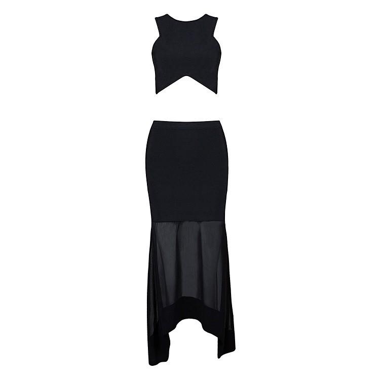 Round Neck Sleeveless Maxi Mesh Nice Black High Quality Bandage Dress