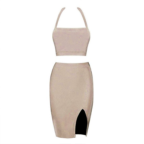 Halter Sleeveless Mini Cut Out 2 Pieces Nude Prom Bandage Dress
