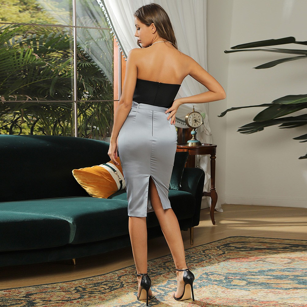 Black Splicing With Belt Midi Sleeveless Strapless Bandage Dress HB7446-Black
