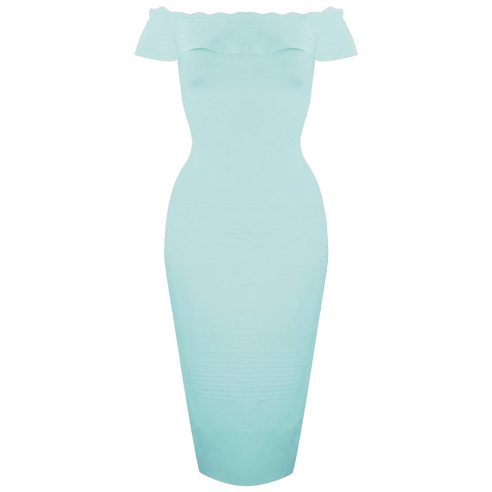 Elegant Off Shoulder Shortsleeve Maxi Light Green Ruffled Bandage Dress HB764-Light Green
