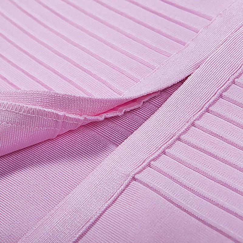 Honey Off Shoulder Short Sleeve Over Knee Pink Peplum Neck Back Slitted Bandage Dress