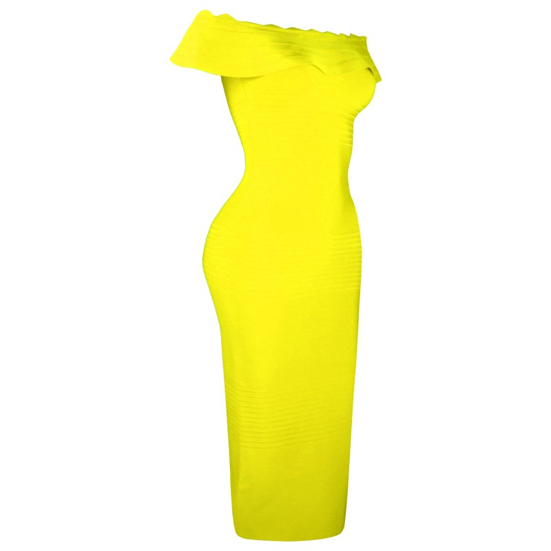 Elegant Off Shoulder Shortsleeve Maxi Yellow Ruffled Bandage Dress HB764-Yellow