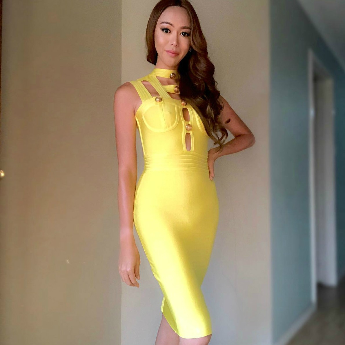 Special Turtle Neck Sleeveless Mini Cut Out Buttoned Yellow Bandage Dress HB766-Yellow