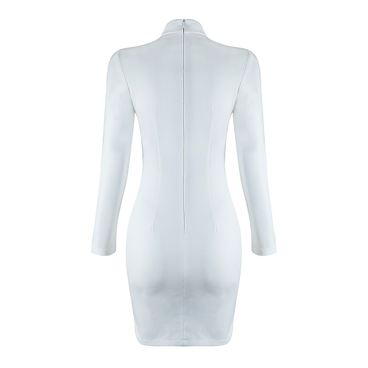 Fashion Round Neck Longsleeve Mini White Cutout Metal Studded Bandage Dress HB801-WHITE